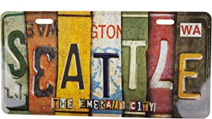"""Charm Kraft Wall Decor Stamped Metal Seattle Souvenir 12"""" x 6"""" Vintage License Plate for Home"""