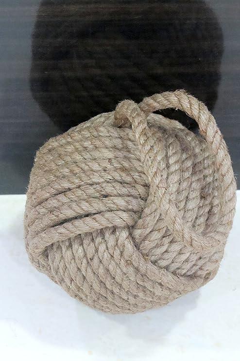 Tope de puerta de tela n/áutica con nudo de cuerda c/áscara de huevo//blanco//bronceado