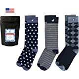 Boldfoot Socks - Mens Cotton Premium Quality Colorful Fun Patterned Dress Socks 3-Pack, Made in America
