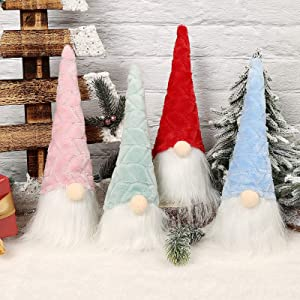 APCHFIOG Christmas Gnomes Handmade Plush Nordic Tomte Swedish Elf Nisse Scandinavian Santa Figurine for Holiday Party Home Table Decorations Gift 11Inches Tall Set of 4