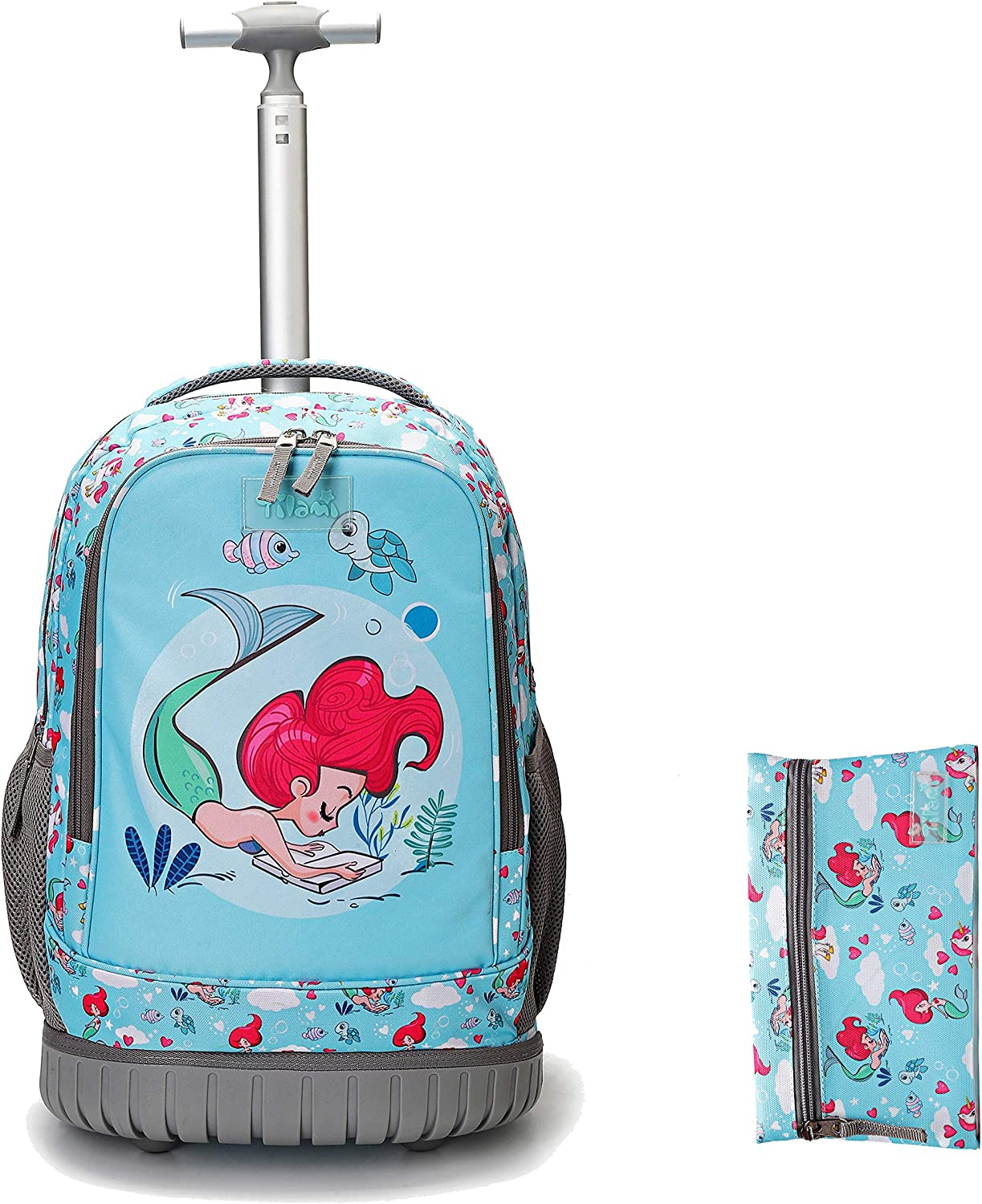 Tilami Rolling Backpack 18 inch with Pencil Case Wheeled Laptop Bag, Mermaid Blue