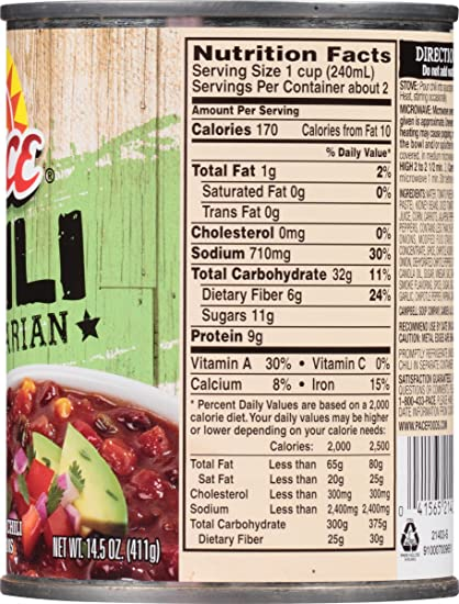 Amazon.com : Pace Chili, Vegetarian, 14.5 Ounce (Pack of 12) : Grocery & Gourmet Food