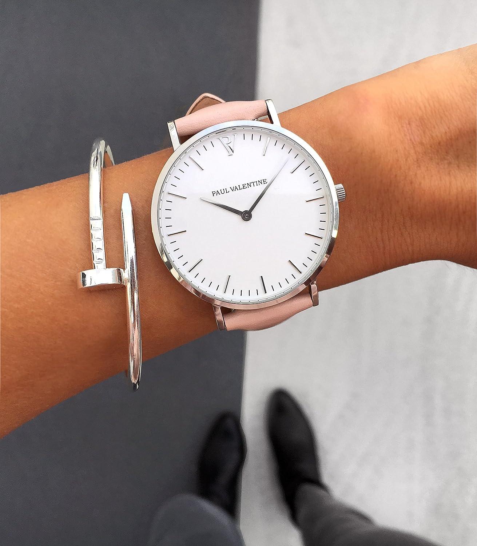 Paul Valentine | Marina Plata Rosa | Mujer Reloj De Pulsera Con elegante diseño & atemporal y cinta de piel pulsera: Amazon.es: Relojes