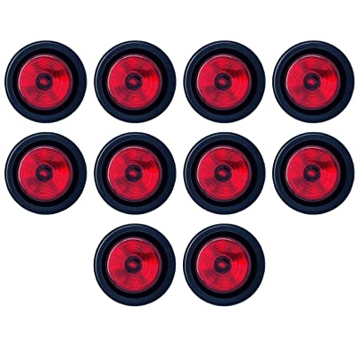 """2"""" Round Red 9 LED Light Trailer Side Marker Clearance Grommet & Plug - Qty 10: Automotive"""