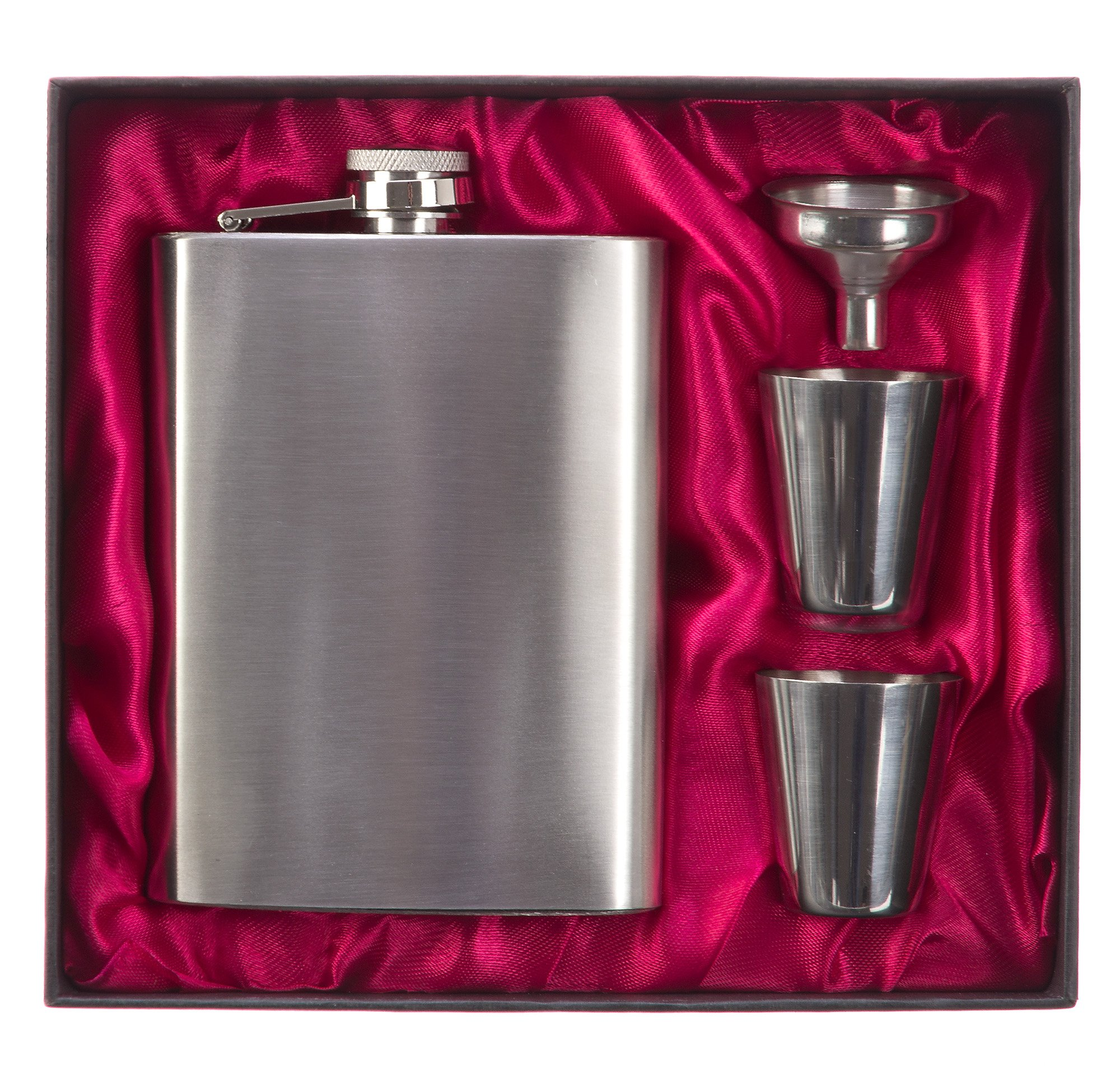 Hip Flask Set Silver 8 Oz 100% Stainless Steel(304/18-8 SS).Bonus 2 Shot Glass+1Funnel+1Giftbox.Flask Leak Proof Tested.Flasks for Liquor/Alcohol.Flask for Men/Women.Great Gift Option!By DonHill