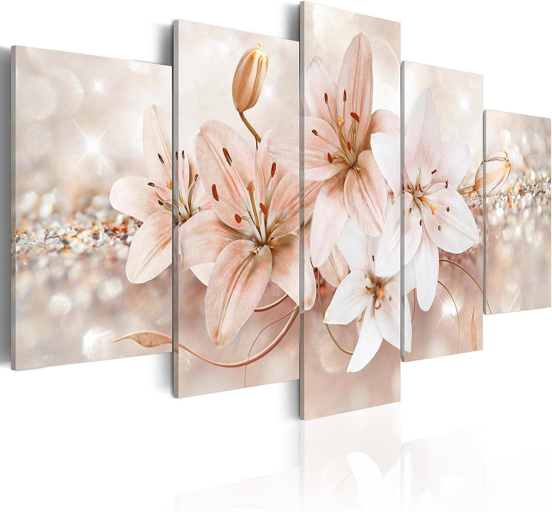 murando - Cuadro en Lienzo 200x100 cm Flores Impresión de 5 Piezas Material Tejido no Tejido Impresión Artística Imagen Gráfica Decoracion de Pared b-A-0297-b-o