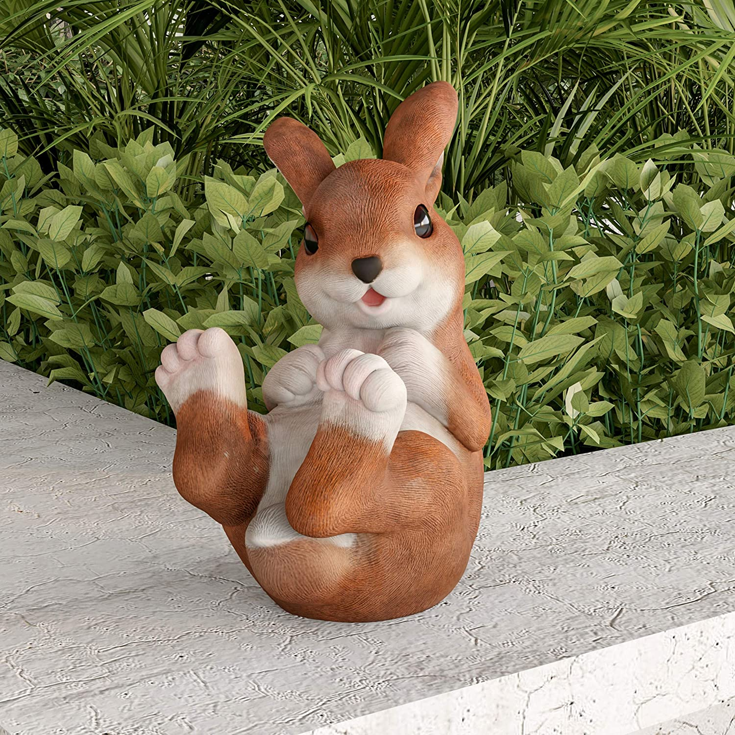 Pure Garden 50-LG1097 Bunny Rabbit Statue-Resin Animal Figurine for Outdoor Lawn Decor for Flower Beds, Fairy Gardens, Backyards and More