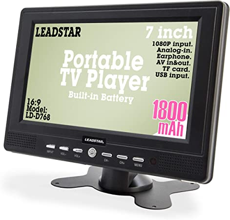 7 Inch Portable Small Digital ATSC TFT HD Screen Freeview LED TV for Car, Caravan,Camping,Outdoor or Kitchen.Built-in Battery Television Monitor with FM, Multimedia Player Support USB Card LEADSTAR