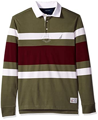 57bd726c Nautica Men's Striped Heavy Weight Jersey Long Sleeve Polo Shirt, Convoy  Green, Medium