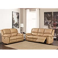 Beige High Grade Leather Manual Reclining 3 Seater Sofa + 2 Seater Leather Manual Recliner Sofa Suite TOLEDO (3+2)