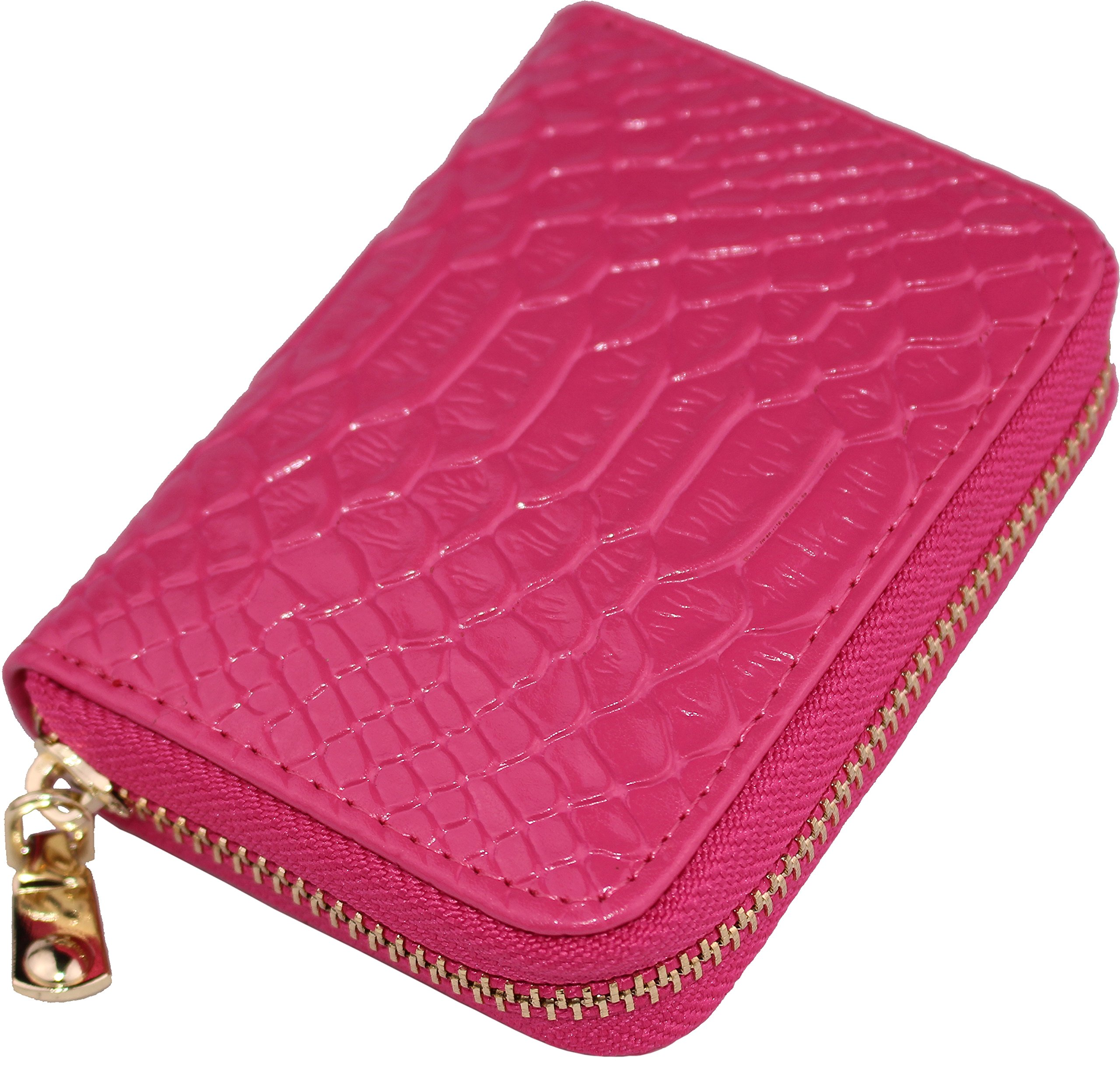 Cute Card Case Small Wallets For Women RFID Blocking Mini Ladies Coin Purse (Glossy-Rose Red)