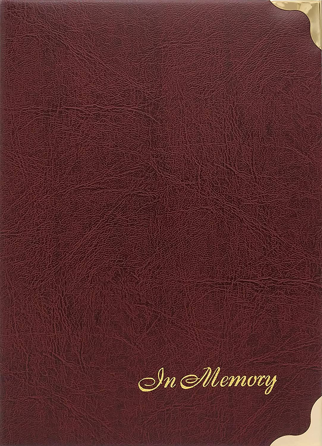 in Memory Funeral Guest Book, Visitor Registration, Condolence & Memorial Book, 7.25x10 inches, Brass Ring Binder (45) Removable Pages - Maroon