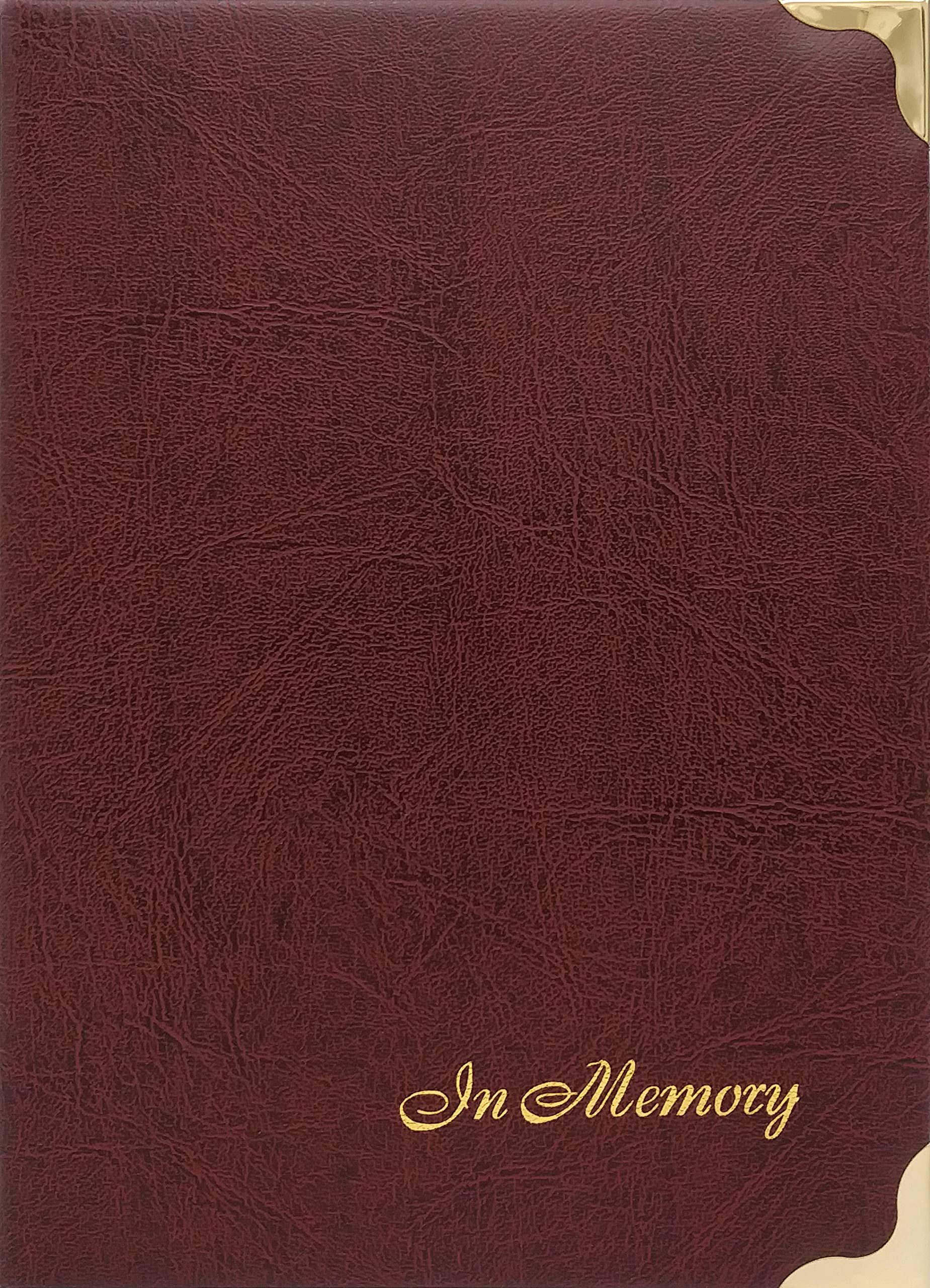 At Ease Specialties in Memory Funeral Guest Book, Visitor Registration, Condolence & Memorial Book, 7.25x10 Inches, Brass Ring Binder (45) Removable Pages - Burgundy by At Ease Specialties