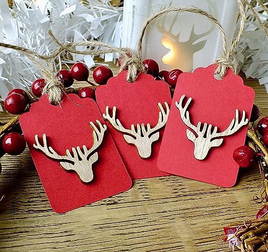 3 x luxury rustic wooden christmas gift tags handmade rudolph reindeer stag head xmas hang tags - Christmas Tags Handmade