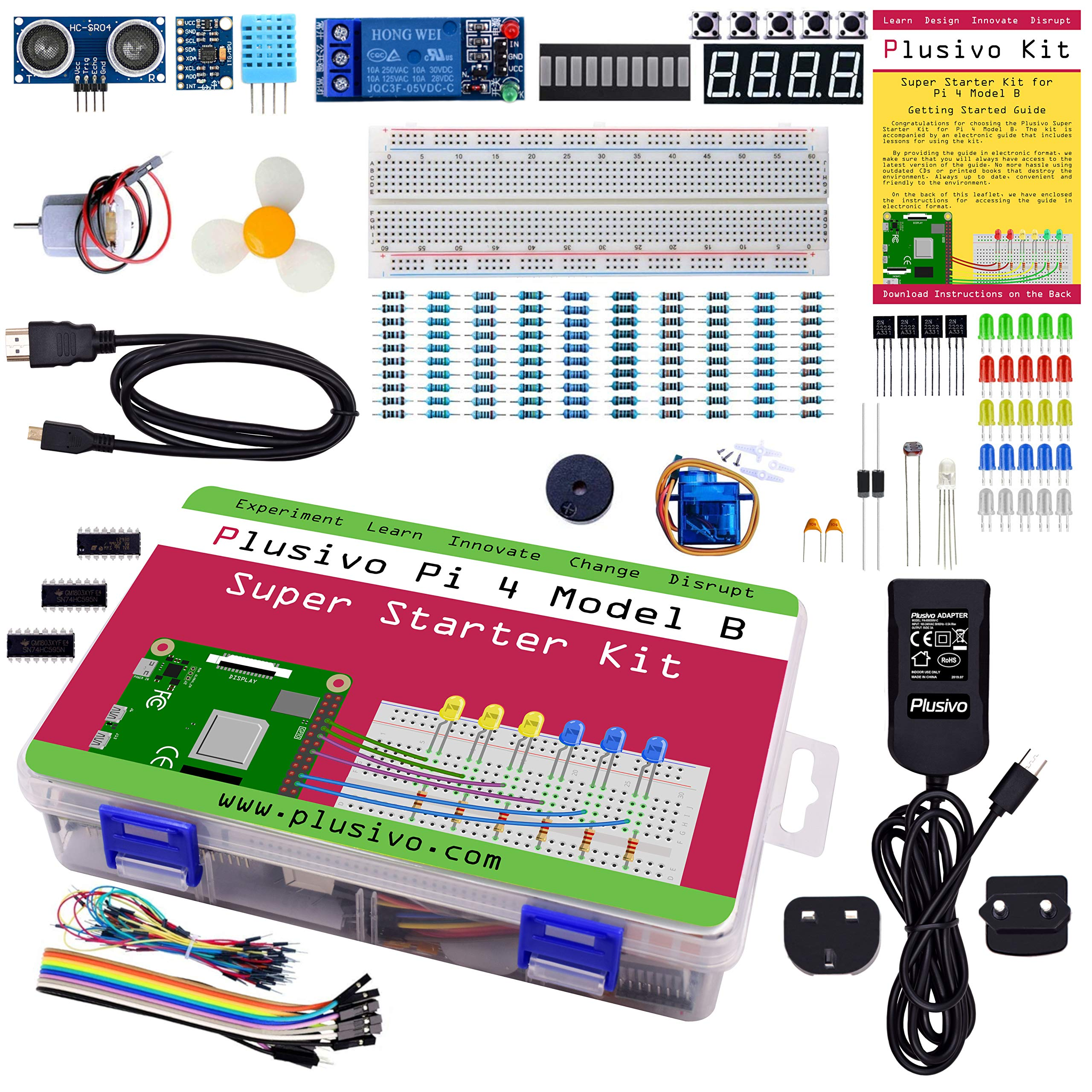 Plusivo Pi 4 Super Starter Kit compatible with Raspberry Pi 4, with 5.1V 3A Power Adapter and Detailed PDF Guide with Lessons and Tutorials
