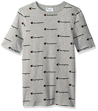 9e63d9e1 Champion LIFE Men's Heritage Tee with All Over, Cow Champ Script Oxford Grey  Heather, S: Amazon.in: Clothing & Accessories