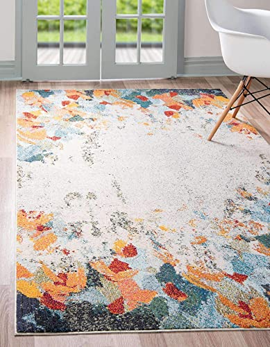 Unique Loom Chromatic Collection Modern Abstract Floral Colorful Multi Area Rug 9' 0 x 12' 0