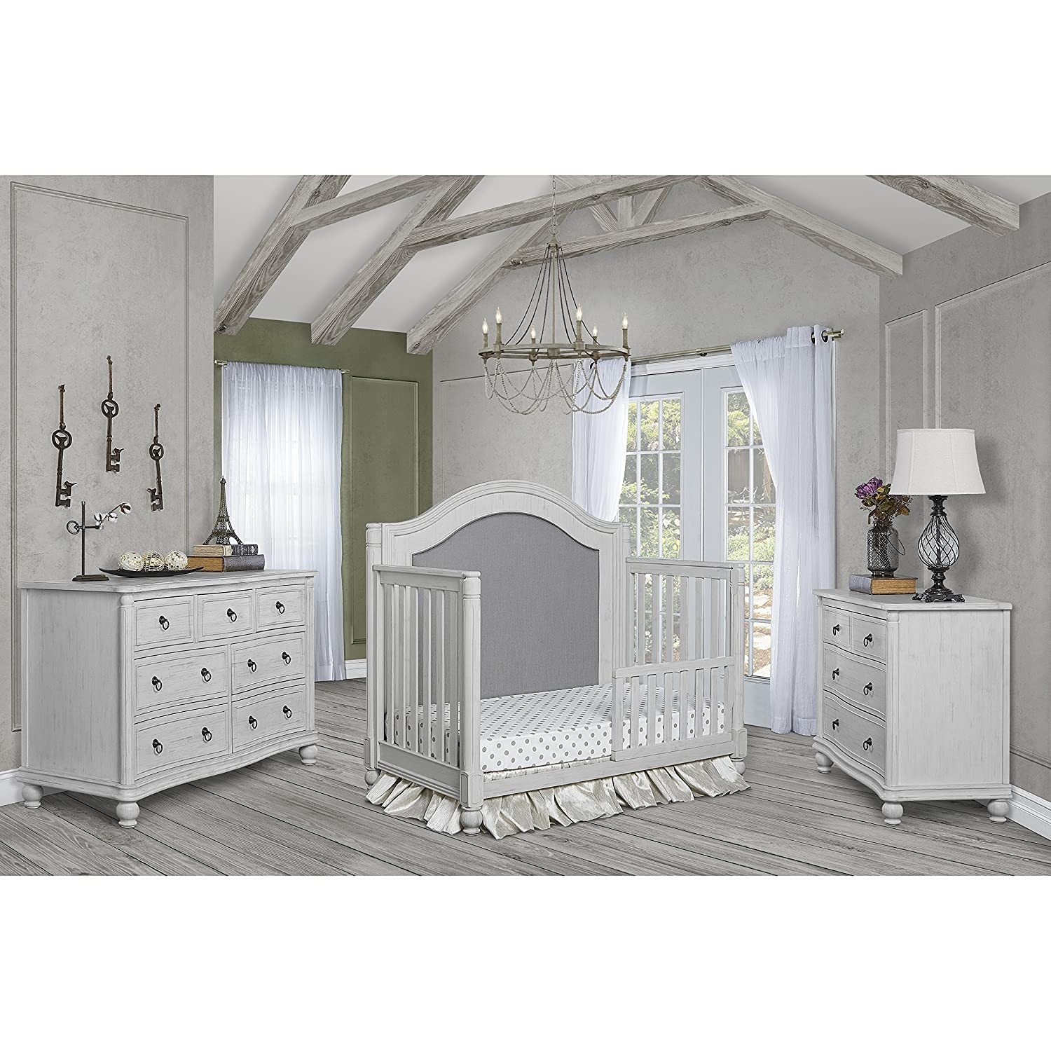 Evolur Kendal Curve Top 5 in 1 Convertible Crib, Antique Grey Mist