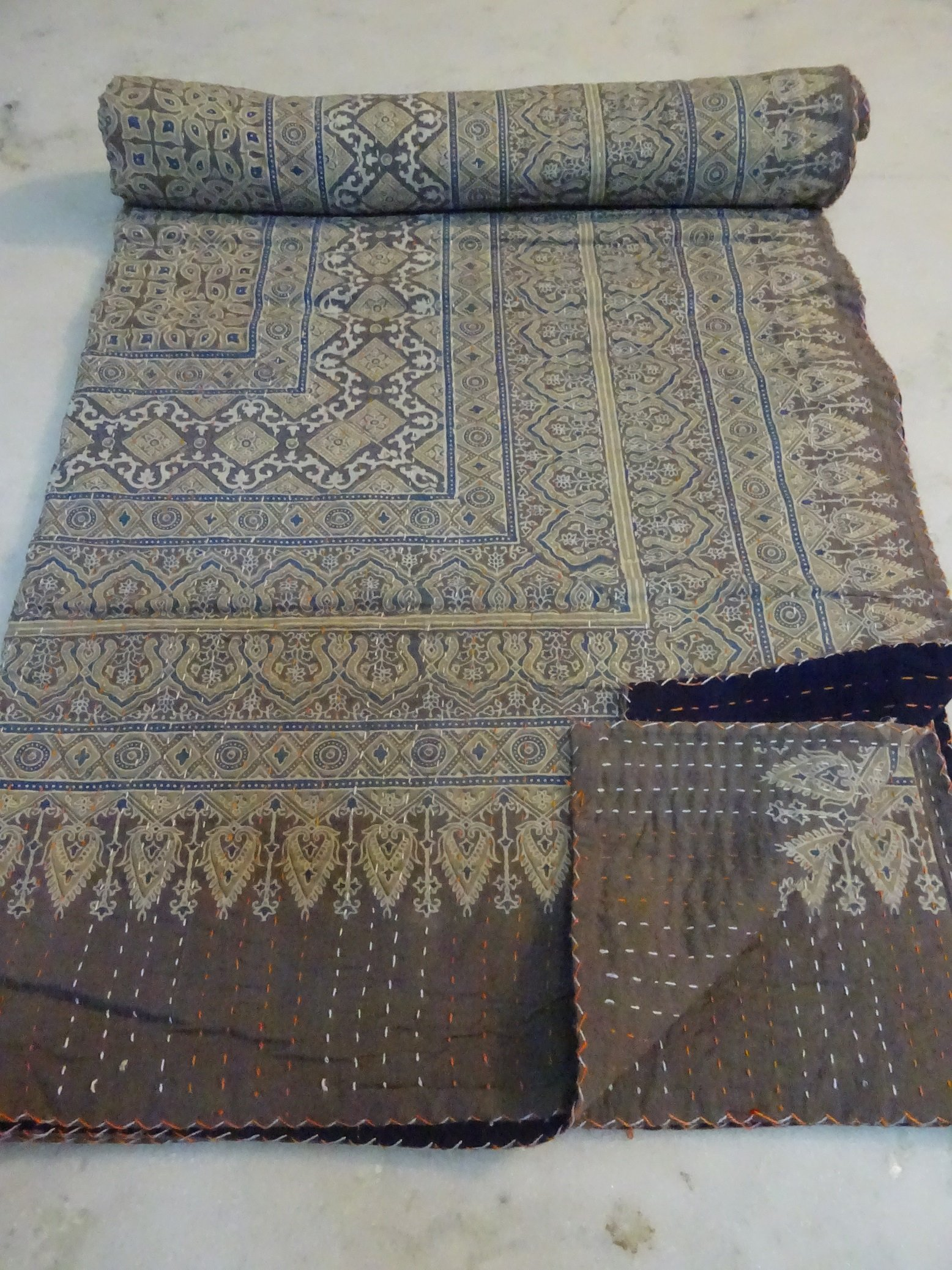 Tribal Asian Textiles Cotton Kantha Quilt Hand Block Print Bed Cover Throw Indian Blanket