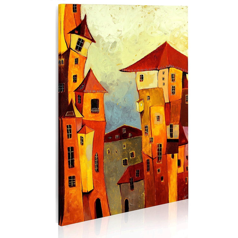 Murando handgemalte Bilder Stadt 56x80cm Gemälde 1 tlg beige rot orange 5354
