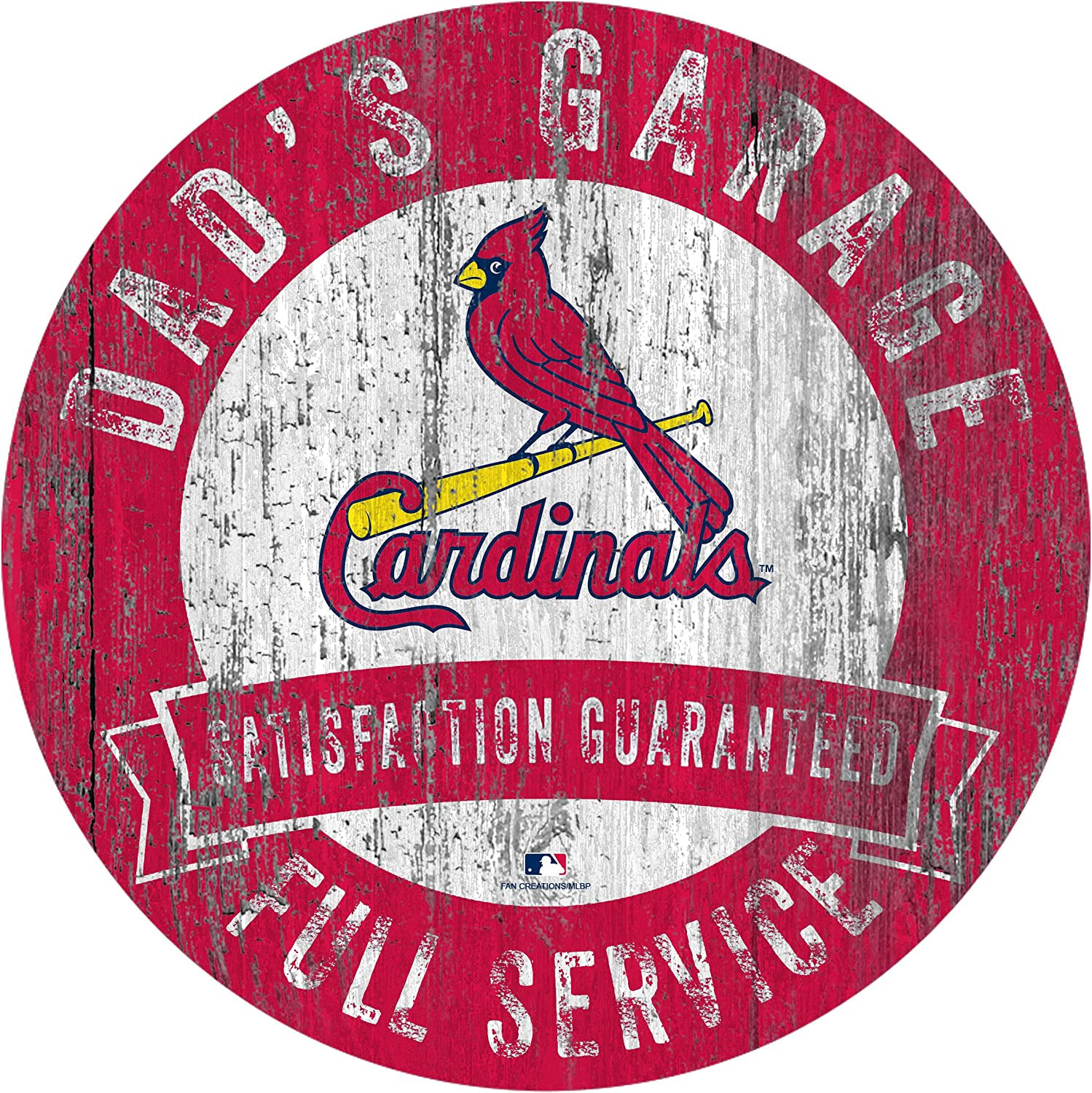 "Fan Creations MLB St. Louis Cardinals 12"" Round Dad's Garage Wood Sign"