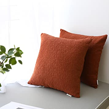 Kevin Textile Decor Solid Decorative Toss Euro Pillow Cover Case Striped Corduroy Cushion Cover for Sofa, Burnt Brick, 18x18-inch (45cm), 2 Pieces