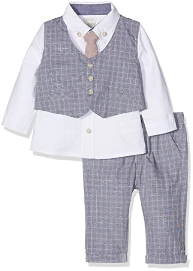 affad3dc207d4 Mamas   Papas Baby Boys  4Pc W Ct St - Grey Suit White)