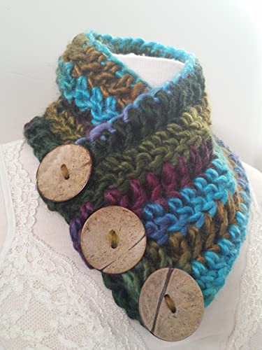 amazon com three button chunky boston harbor scarf turquoise blue