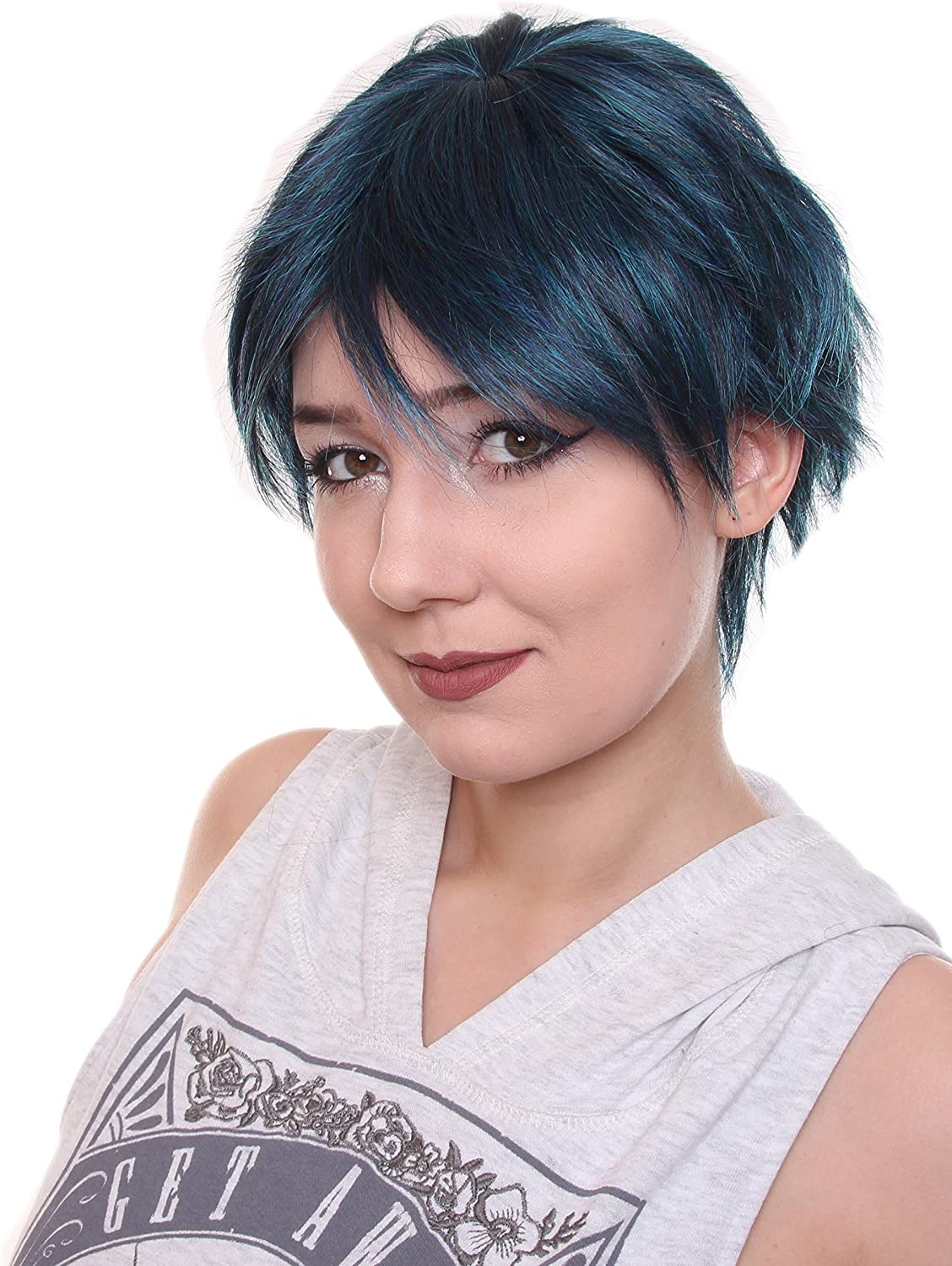 Prettyland C389 Short Hair Wig Wild Fringed Pixie Layered Cut For Everyday Women Men Peacock Green Amazon Co Uk Beauty