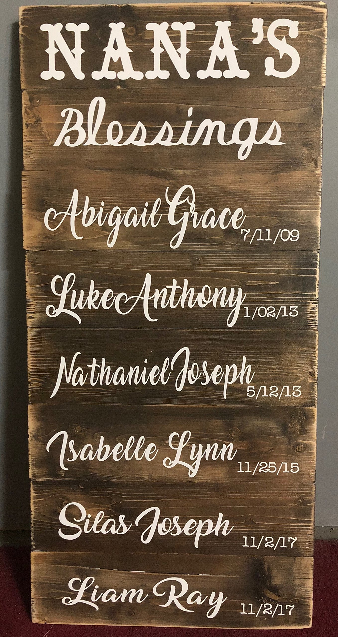 RUSTIC Pallet Plank Boards with names on your Grandchildren or Children --- Pallet Sign, Wood Surface, Wedding Decor, Mother's Day gift, Anniversary, Father's Day, Birthday Gift