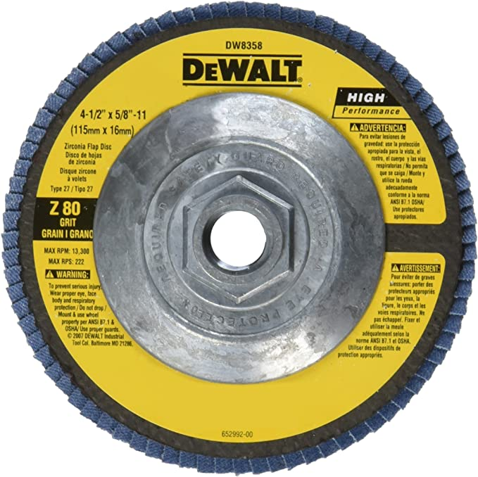 DEWALT DAAH7GPW05 4-1//2-Inch by 5//8-Inch-11 Power Wheel Flap Disc