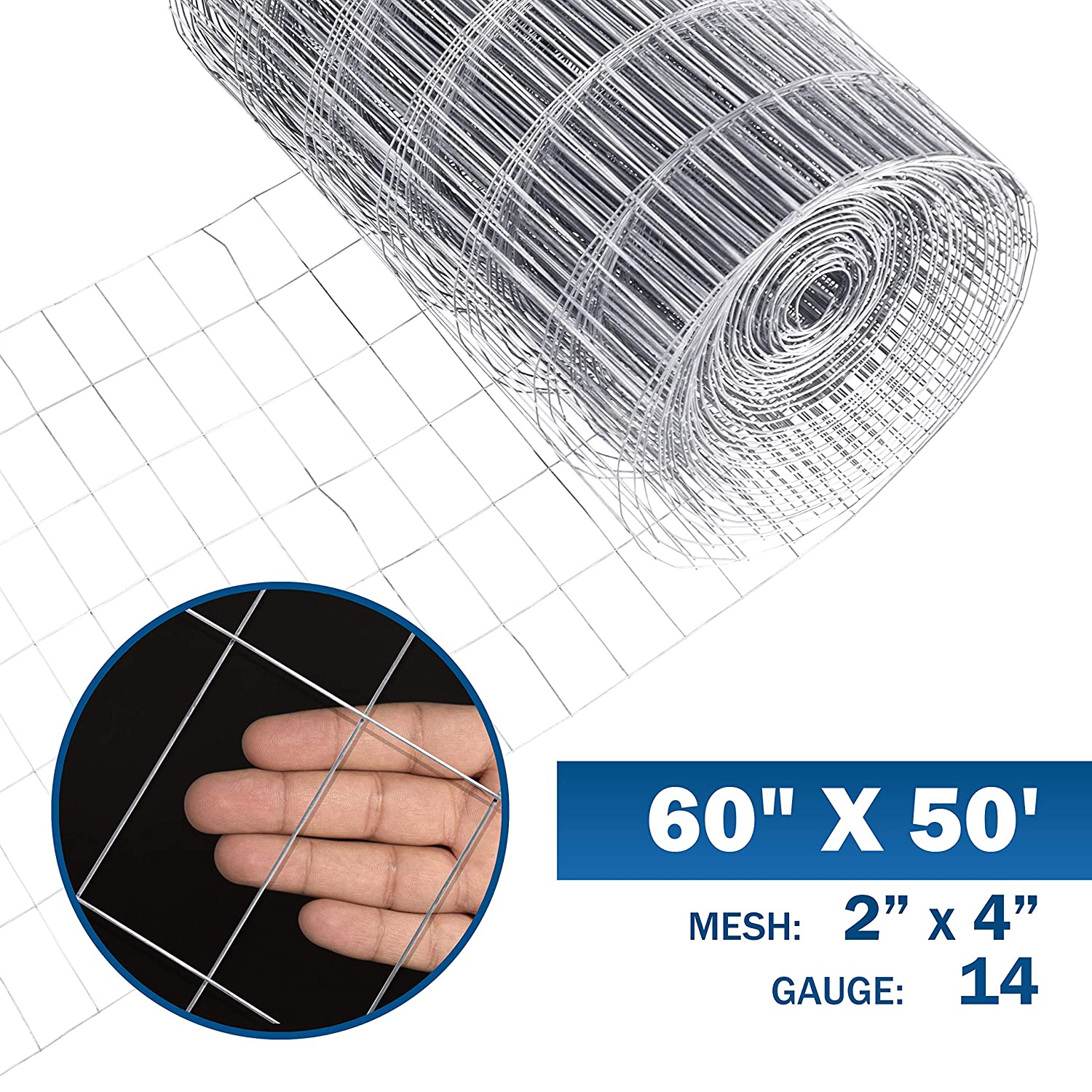 Fencer Wire 14 Gauge Galvanized Welded Wire with 2 inch by 4 inch Mesh 3 ft. x 50 ft.