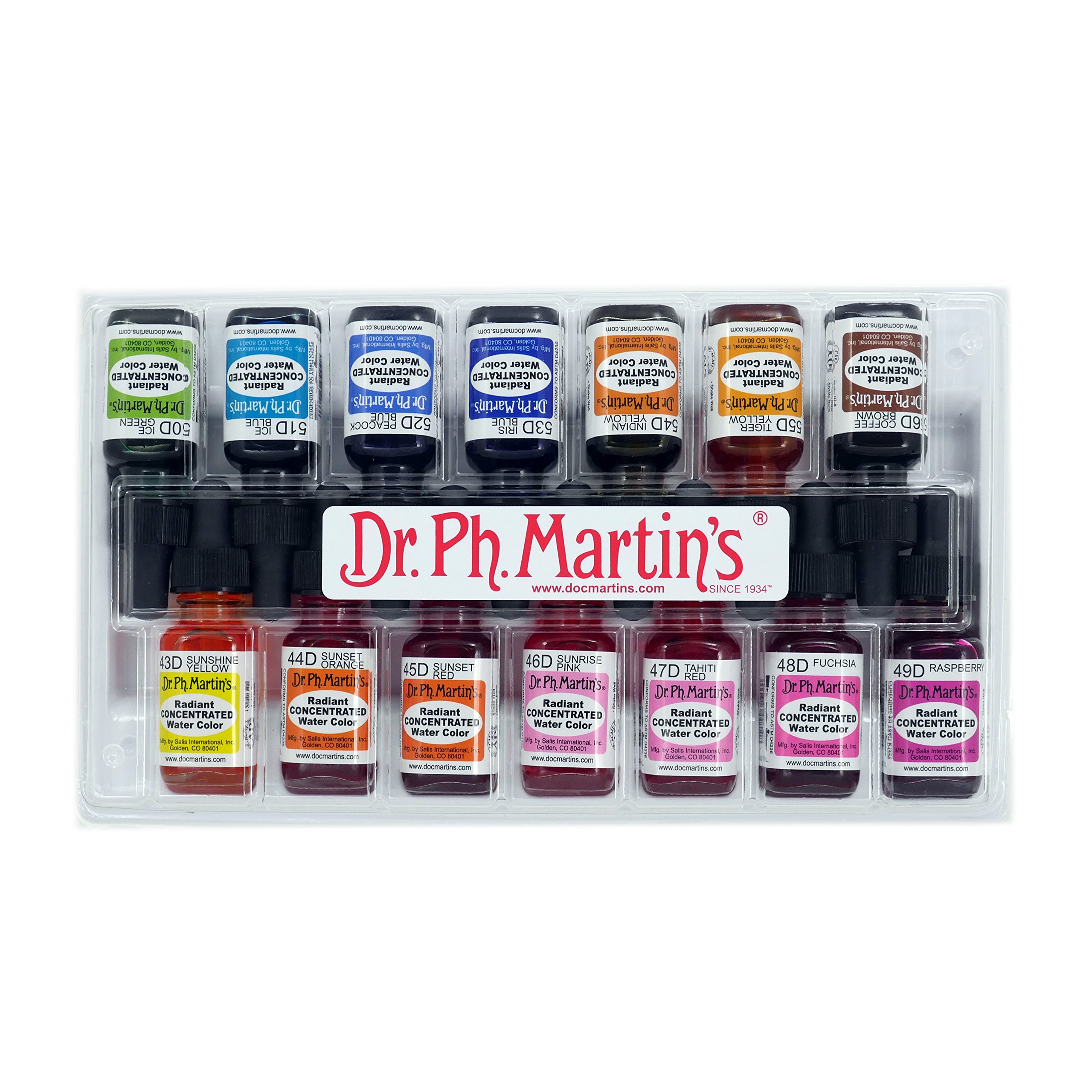 Dr. Ph. Martin's Radiant Concentrated Water Color, 0.5 oz, Set of 14 (Set D) by Dr. Ph. Martin's