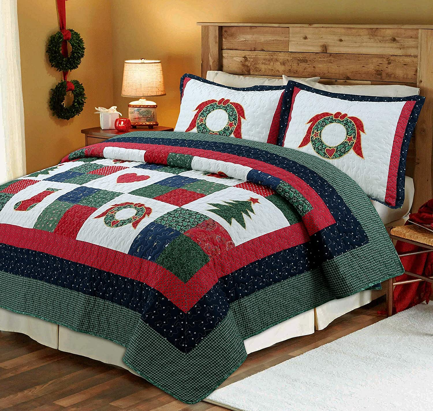Cozy Line Home Fashions Happy Christmas 3-Piece Cotton Quilt Bedding Set, Coverlet Bedspread (Happy Christmas, Queen - 3 Piece)