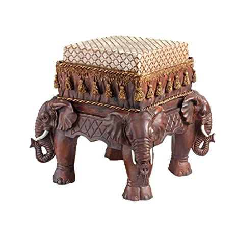 Design Toscano The Maharajahu0027s Elephants Sculptural Upholstered Footstool