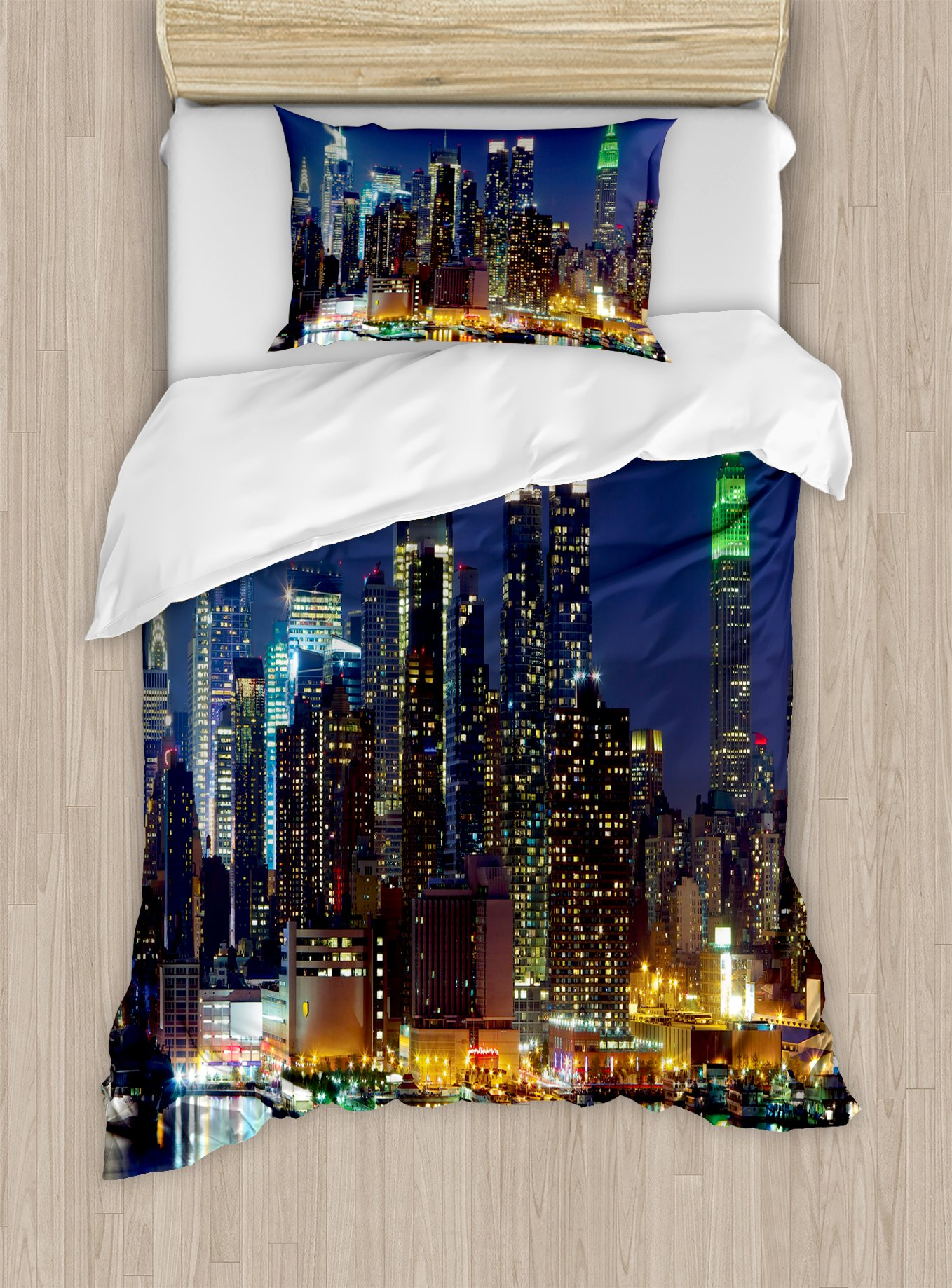 Ambesonne New York Duvet Cover Set Twin Size, NYC Midtown Skyline in Evening Skyscrapers Amazing Metropolis City States Photo, Decorative 2 Piece Bedding Set with 1 Pillow Sham, Royal Blue