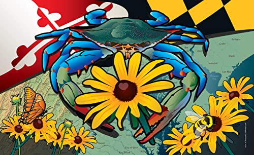 Maryland Blue Crab Black-Eyed Susan Door Mat by Joe Barsin, 30×18