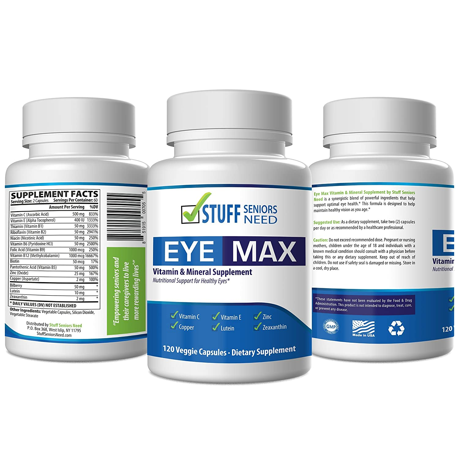 ... Vitamin & Mineral Supplement for Eye Care - 120 Veggie Capsules -  Vitamin C, Vitamin E, Zinc, Copper, Lutein 10 mg and Zeaxanthin 2mg from  Stuff Seniors ...
