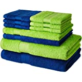 Amazon Brand - Solimo 100% Cotton 10 Piece Towel Set, 500 GSM (Iris Blue and Spring Green)