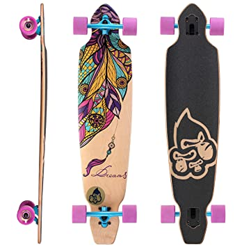 STAR-SKATEBOARDS® Premium Longboard de arce canadiense Drop Through Flush Cut Longboard &#