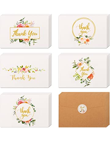 40 Floral Gold Thank You Cards