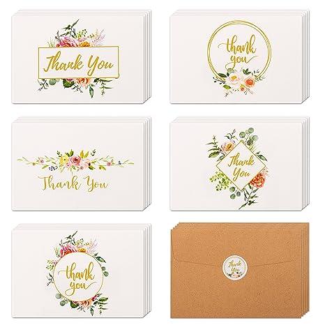 Amazon.com: 40 tarjetas de agradecimiento florales y doradas ...