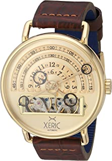 Xeric Mens Automatic Stainless Steel and Leather Watch, Color Brown (Model: HLG-