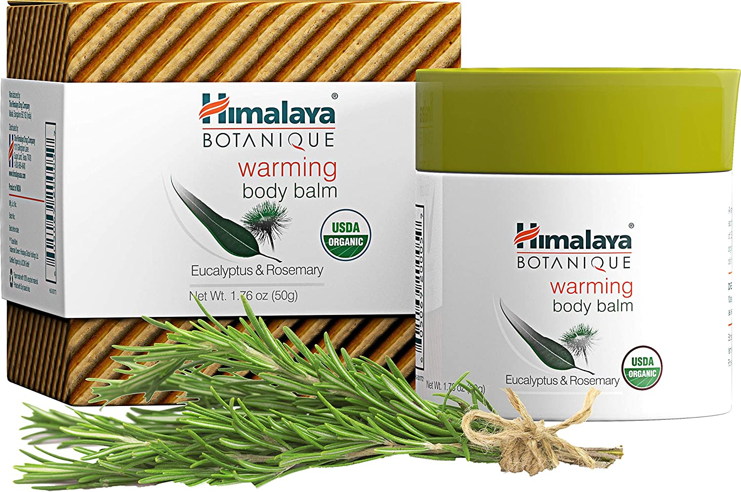 Himalaya Organic Warming Body Balm with Eucalyptus, Rosemary and Coconut Oil for Muscle and Joint Pain Relief 1.76 oz (50 g)