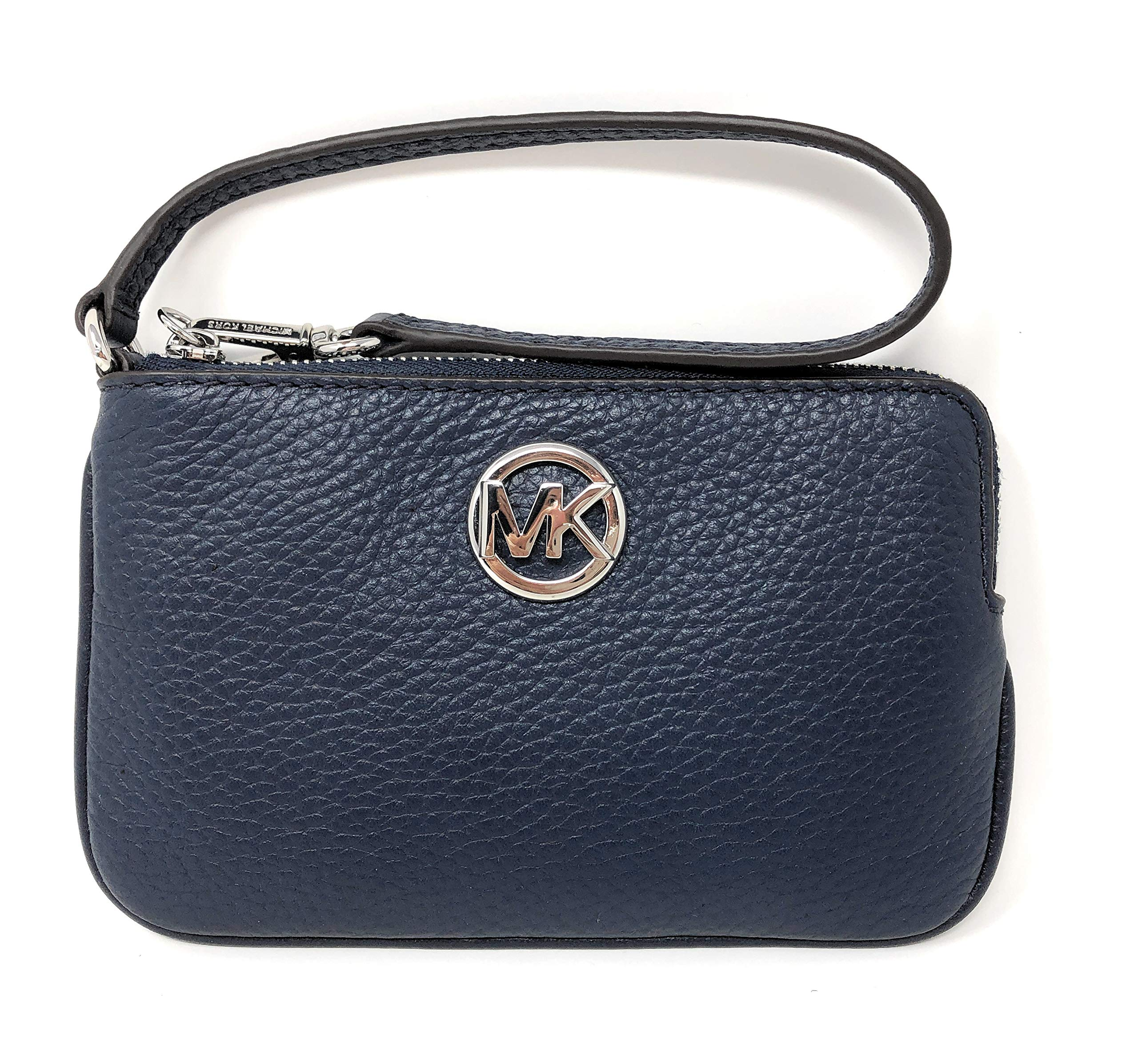 Micheal Kors Fulton Top Zip Pebble Leather Wristlet Purse in Navy by Michael Kors
