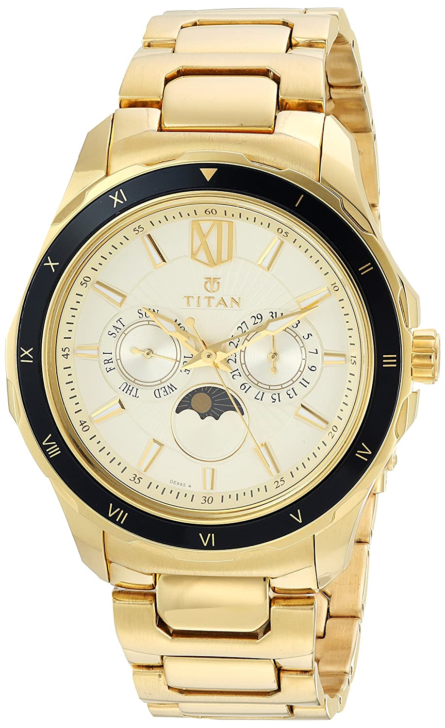 Titan Analog Gold Dial Men's Watch-NK1688KM01