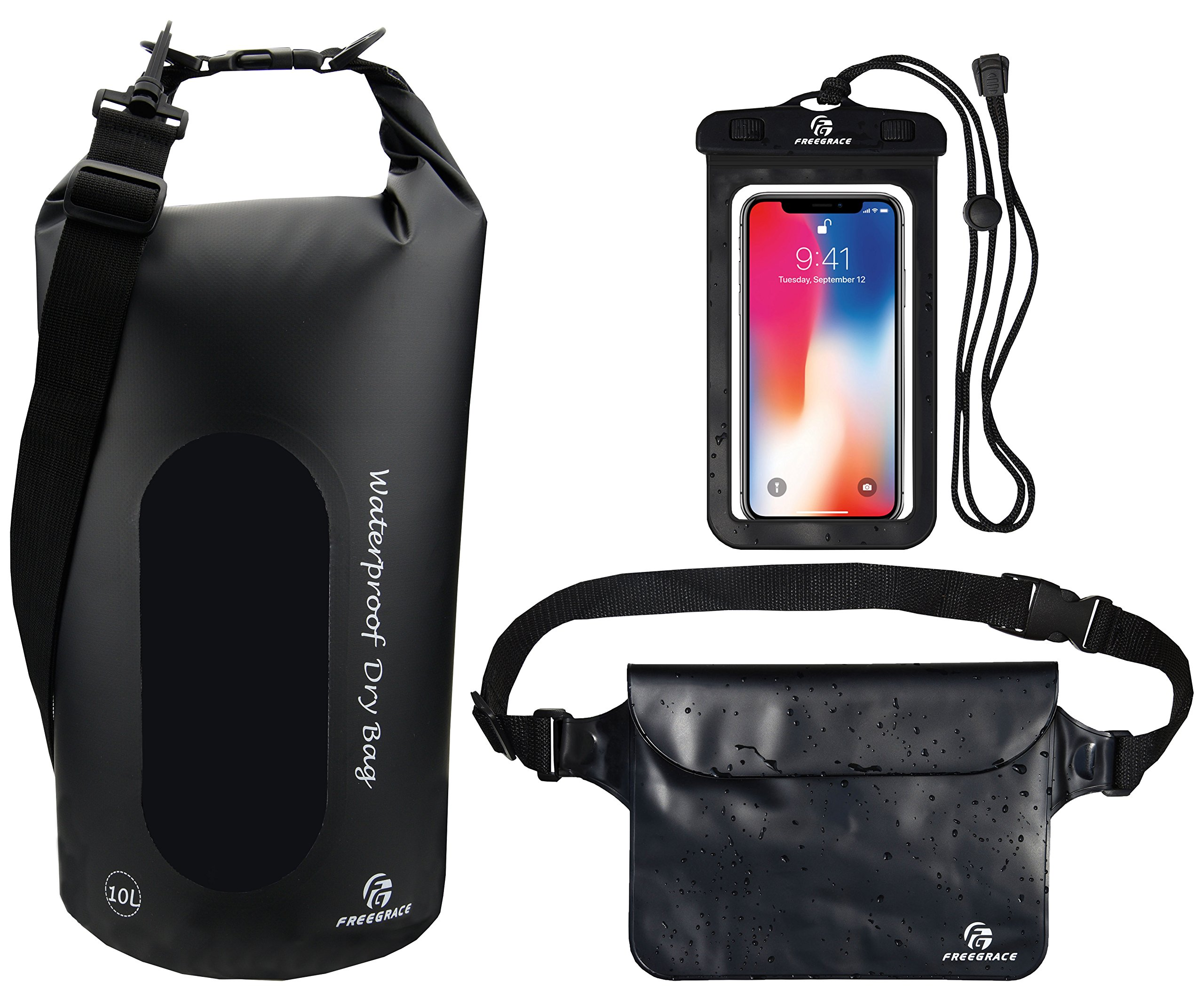Freegrace Waterproof Dry Bags Set of 3 Dry Bag with 2 Zip Lock Seals & Detachable Shoulder Strap, Waist Pouch & Phone Case - Can Be Submerged Into Water - for Swimming (Black(Window), 5L)