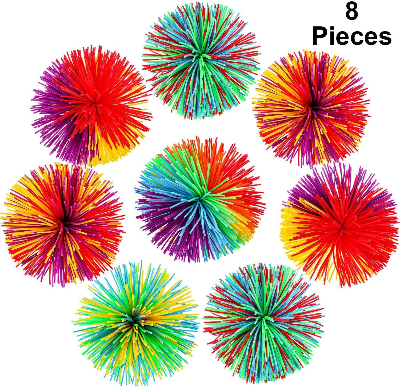 8 Pieces Monkey Stringy Balls Sensory Fidget Stringy Balls Soft Rainbow Pom Bouncy Stress Balls with Storage Bag, Multicolor (2.75 Inch 8 Pieces)