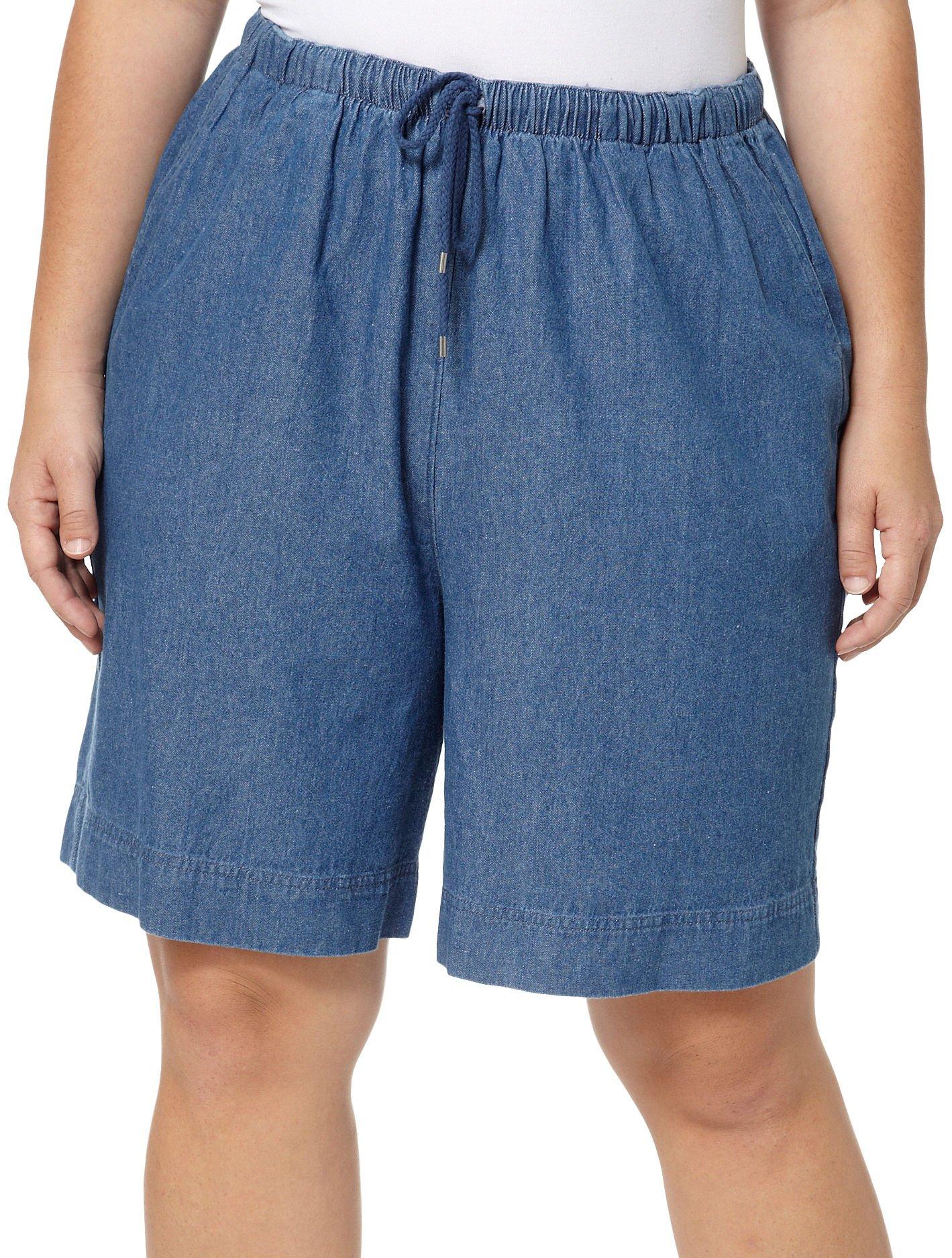 Coral Bay Plus Twill Drawstring Shorts 3X Medium chambray blue