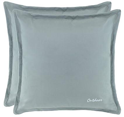 Brandsseller Outdoor Kissen Dekokissen Gr/ö/ße: 48 x 48 cm Schmutz- und Wasserabweisend mit Rei/ßverschluss 2 cm Steg 350 gr Farbe: Stone F/üllung 2er Vorteilspack